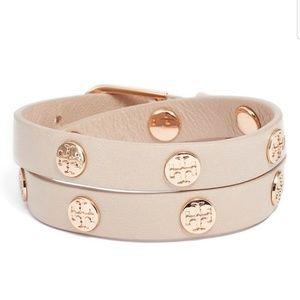 Tory Burch Double Wrap Logo Bracelet Blush Pink